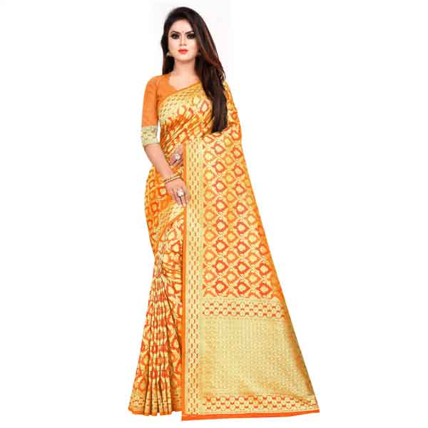 Flareon Women's Banarasi Silk Saree With Blouse Piece (101B) Mustard