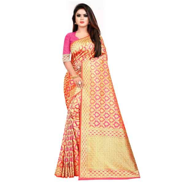 Flareon Women's Banarasi Silk Saree With Blouse Piece (101D) Rani