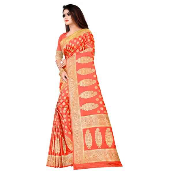 Flareon Women's Banarasi Silk Saree With Blouse Piece (102A) Gajari