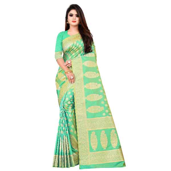Flareon Women's Banarasi Silk Saree With Blouse Piece (102C) Rama