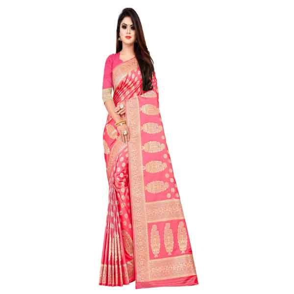 Flareon Women's Banarasi Silk Saree With Blouse Piece (102D) Rani