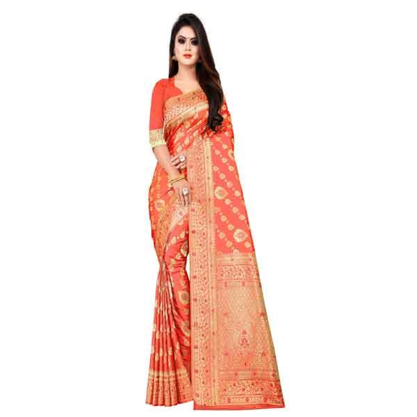 Flareon Women's Banarasi Silk Saree With Blouse Piece (103A) Gajari