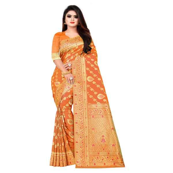 Flareon Women's Banarasi Silk Saree With Blouse Piece (103B) Mustard