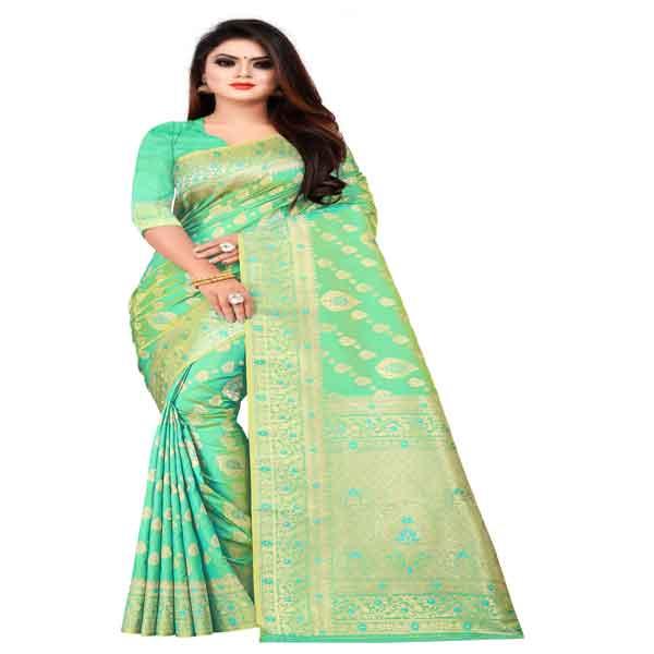 Flareon Women's Banarasi Silk Saree With Blouse Piece (103C) Rama