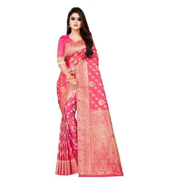 Flareon Women's Banarasi Silk Saree With Blouse Piece (103D)