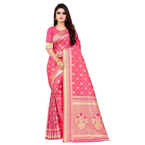 Flareon Women's Banarasi Silk Saree With Blouse Piece (104B) Rani
