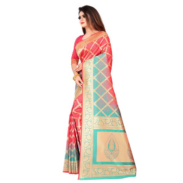 Flareon (245A-Gajari) Women Banarasi Silk Saree with Blouse Piece