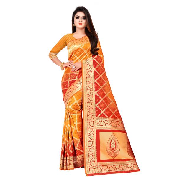 Flareon (245B-Mustard) Women Banarasi Silk Saree with Blouse Piece