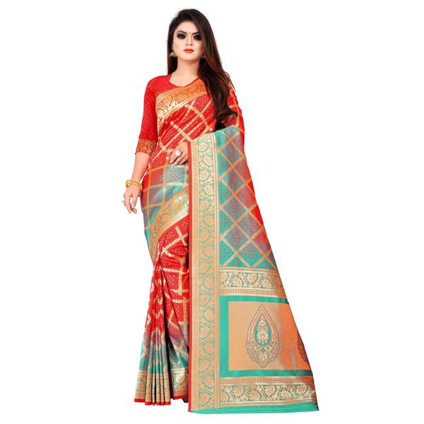 Flareon (245C-Red) Women Banarasi Silk Saree with Blouse Piece