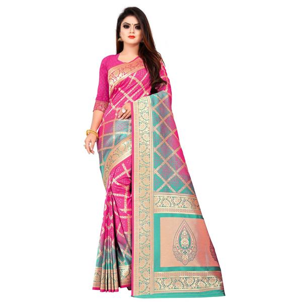 Flareon (245D-Rani) Women Banarasi Silk Saree with Blouse Piece
