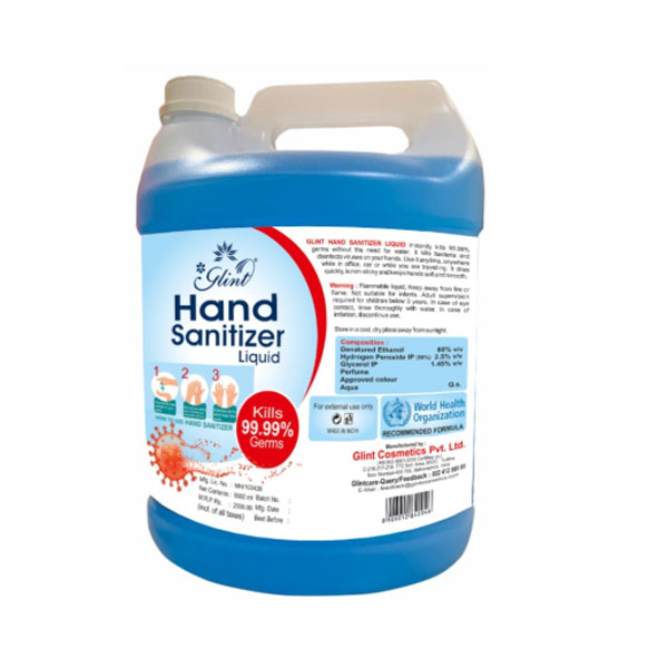 Glint Hand Sanitizer Liquid 80% Ethanol, WHO Recommended ( 5000ML)