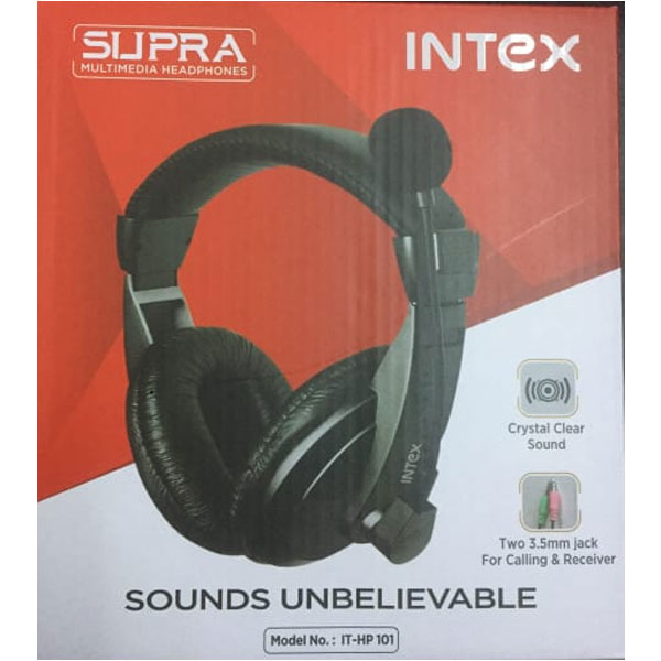 Intex IT-HP 101 Wired Over the Ear (With mic - Yes, Black)