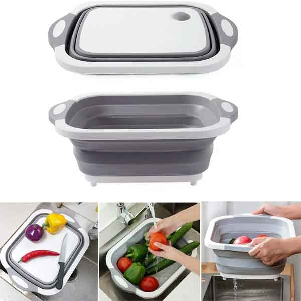 Mixeur Collapsible Cutting Chopping Board/Washing Bowl,Fruit Vegetable Basket (Multifunctional & Strong)