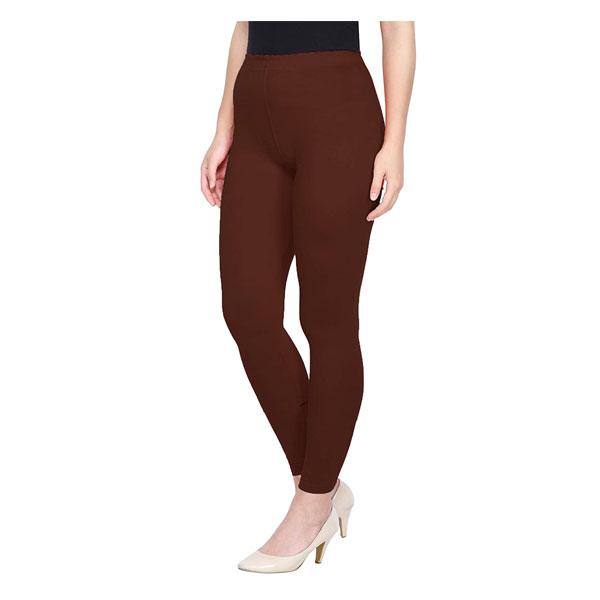 MKS Impex Cotton Lycra Ankle Length Leggings For Women & Girls (Brown)