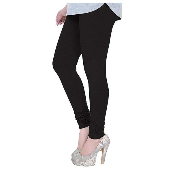 MKS Impex Women's Churidar Leggings Soft Cotton Lycra 4 Way Stretchable (Black)
