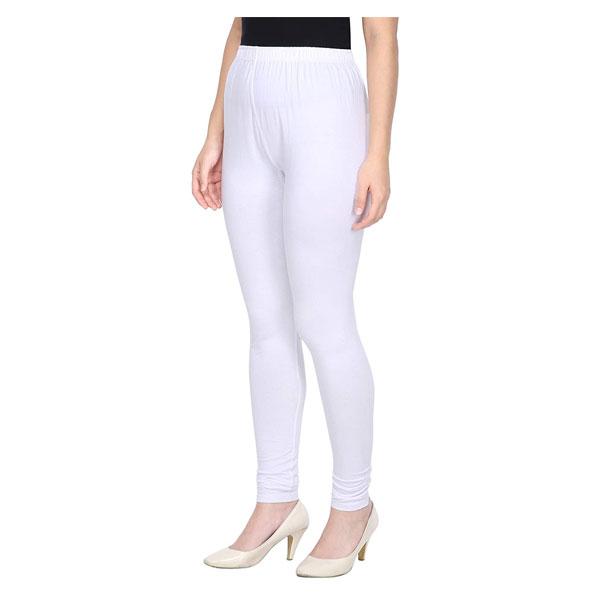 MKS Impex Women's Churidar Leggings Soft Cotton Lycra 4 Way Stretchable (White)