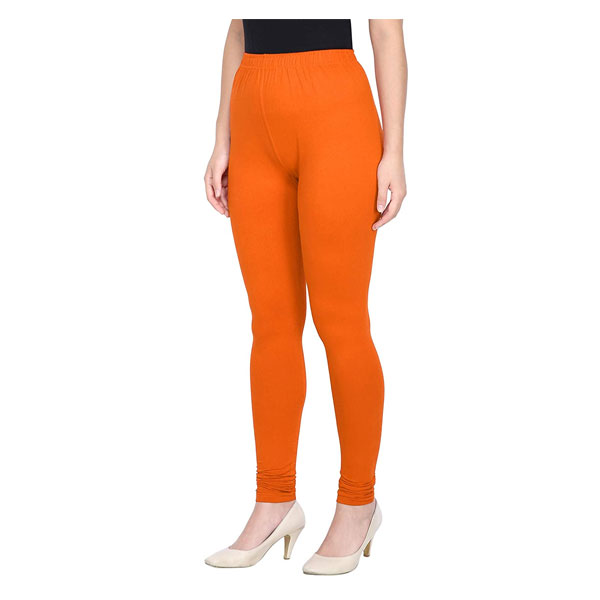 MKS Impex Women's Churidar Leggings Soft Cotton Lycra 4 Way Stretchable (Orange)