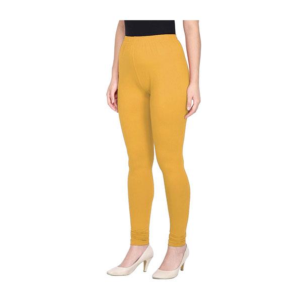 MKS Impex Women's Churidar Leggings Soft Cotton Lycra 4 Way Stretchable (Yellow)