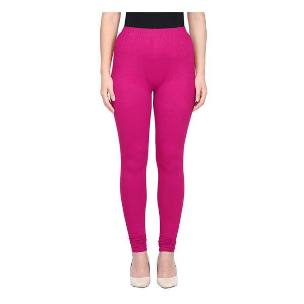 MKS Impex Women's Churidar Leggings Soft Cotton Lycra 4 Way Stretchable (Dark Pink )