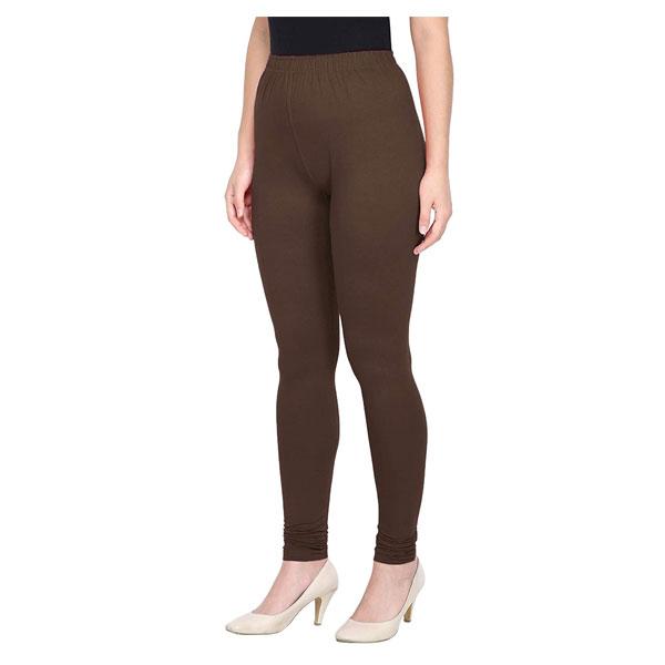 MKS Impex Women's Churidar Leggings Soft Cotton Lycra 4 Way Stretchable (Brown)