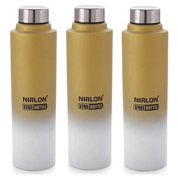 Nirlon Aqua Gold and White Stainless Steel Fridge Water Bottle (1000 ml)