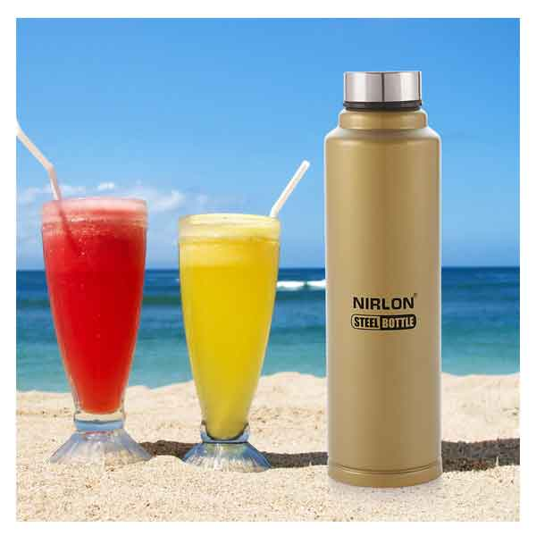 Nirlon Aqua Gold 1000ML Stainless Steel Freezer Bottle (70016)