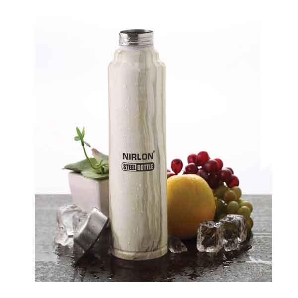 Nirlon White Marble 1000ML Stainless Steel Freezer Bottle (70031)