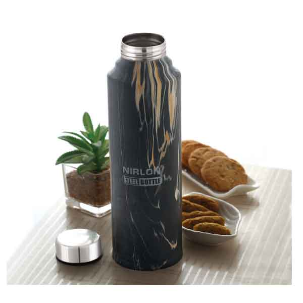Nirlon Black Marble 1000ML Stainless Steel Freezer Bottle (70032)
