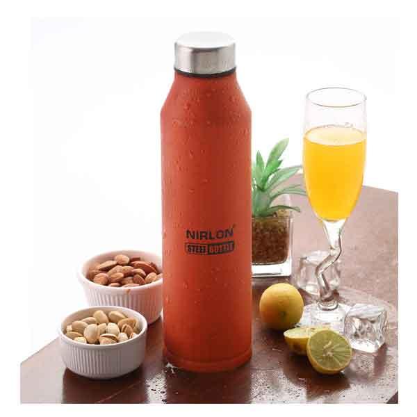 Nirlon Crystal Orange (1000 ML) Stainless Steel Water Bottle (70057)