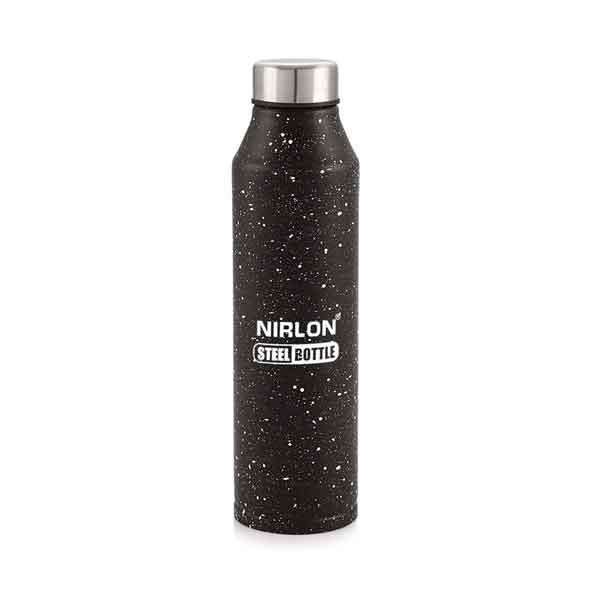 Nirlon Crystal Black White Spatter (1000 ML) Stainless Steel Water Bottle (70063)