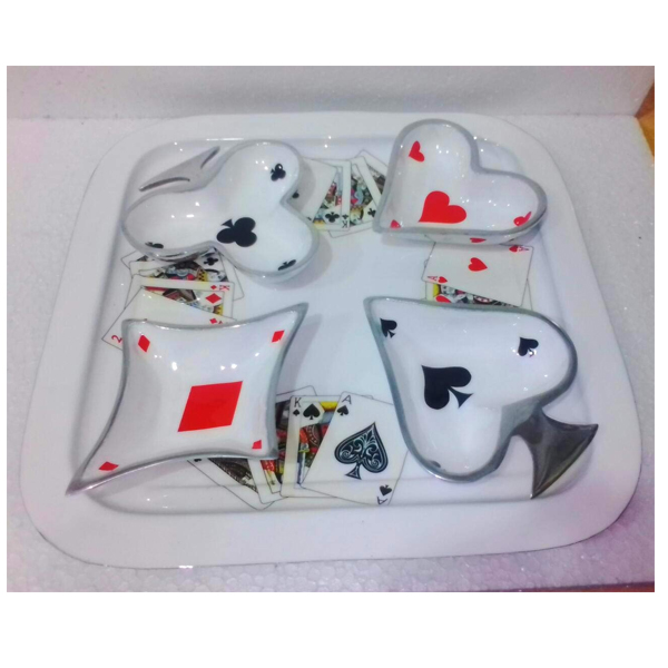 """Sankalan Art Gallery Square Tray with 4 Bowls, Taash Design, Made of Aluminium, Enamel Paint, Size 14""""x14"""""""