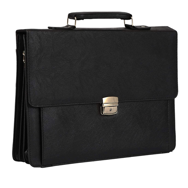 Shopizone Leather Briefcase Bags Business Handbags Shoulder Messenger 15.6 Inch Laptop Bag for Men (Black)
