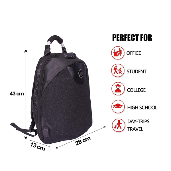 Shopizone Anti-Theft Laptop Backpack Water Resistant Business Bag with USB Charging Port and Lock for Men Women (Black)