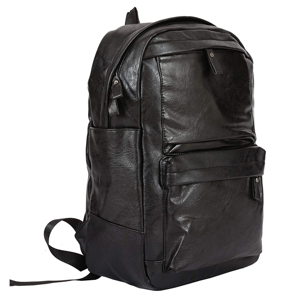 Shopizone Leather Backpack for College/Office with 15.6 inch Laptop Compartment and USB Charging Port (Black)