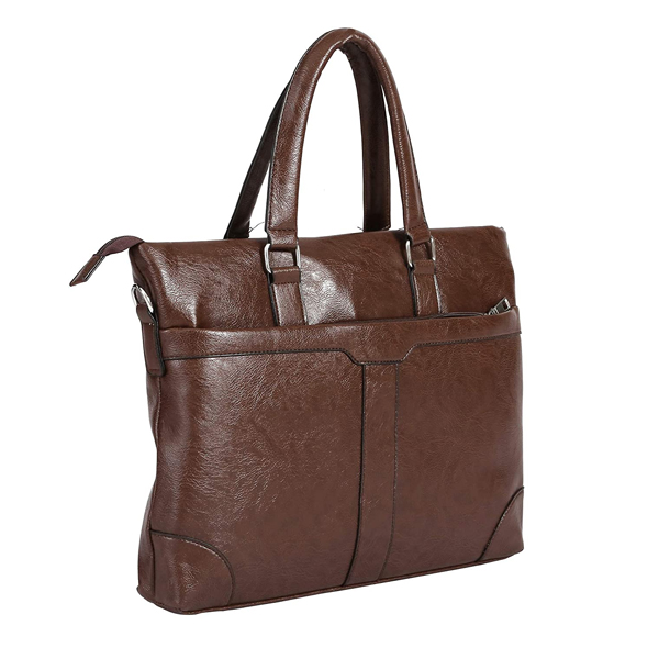 Shopizone Leather Handbag Shoulder bag Office Purse for Ladies Women (Brown)
