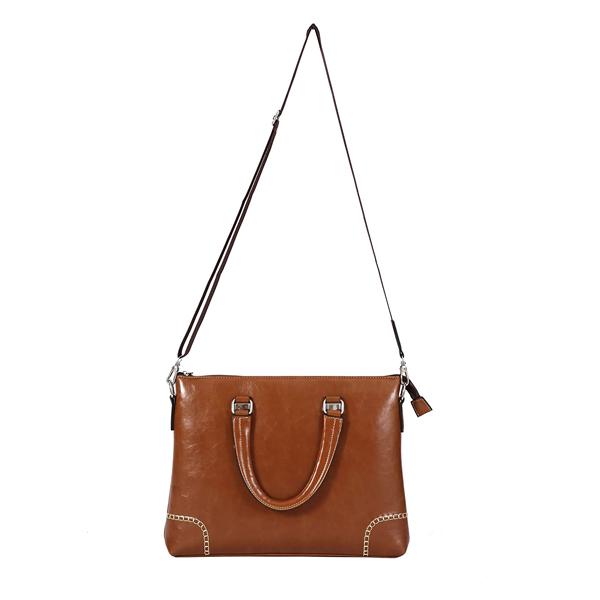 Shopizone Leather Handbag Shoulder bag Office Purse for Ladies Women (Light Brown)