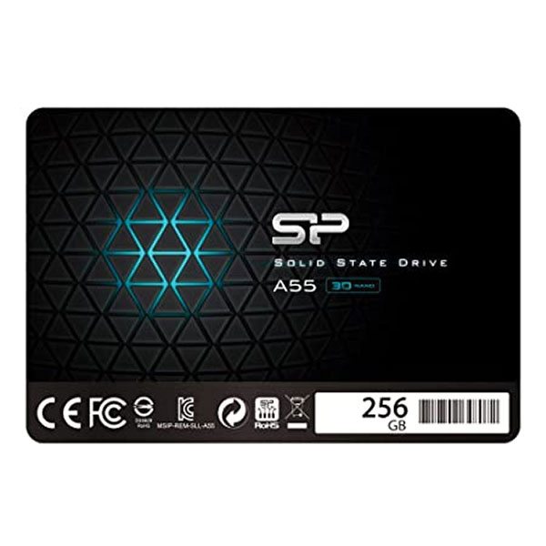 """Silicon Power 256GB SSD 3D NAND A55 SLC Cache Performance Boost SATA III 2.5"""" 7mm (0.28"""") Internal Solid State Drive (SP256GBSS3A55S25)"""