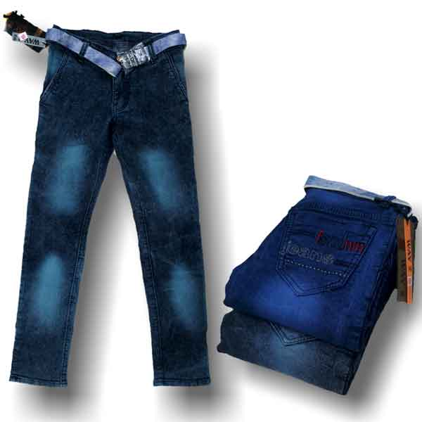 Way 2 Jeans Kids For Boys Regular Fit Black And Blue (32x40)