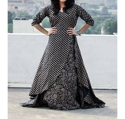 black cotton printed kurti with shrugs blkcpn-001 (black)
