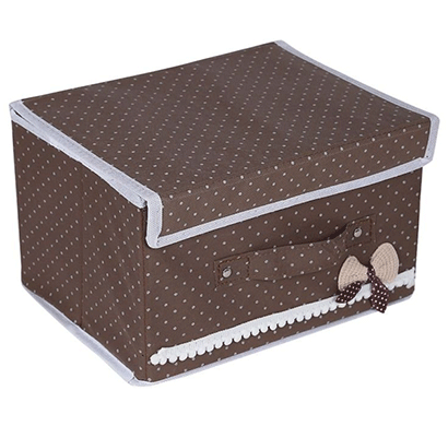 cosmosgalaxy closet non-woven portable foldable storage organizer with lid for clothes and toys, brown
