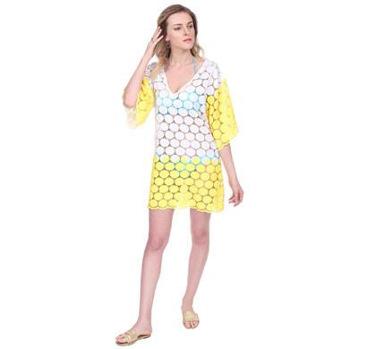 cream and yellow swim coverup beach dress