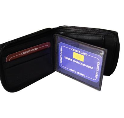 saw - 1026, bi-fold wallet leather, black