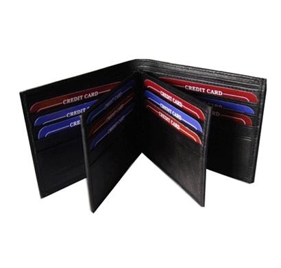 saw 1606 bi-fold leather rfid secured wallet black