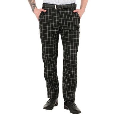 shaurya-f tr-260 slim fit men's black check trousers