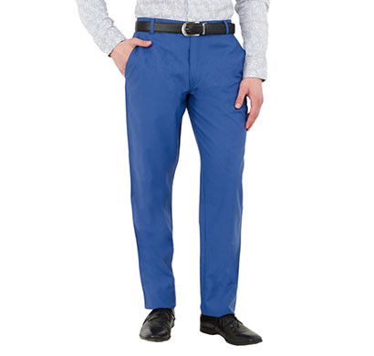 shaurya-f tr-258 slim fit men linen blue trouser