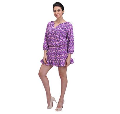 women purple and cream scallop print drop waisted tiered hem dress